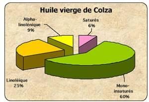 Huile de Colza Vierge composition moyenne en acides gras